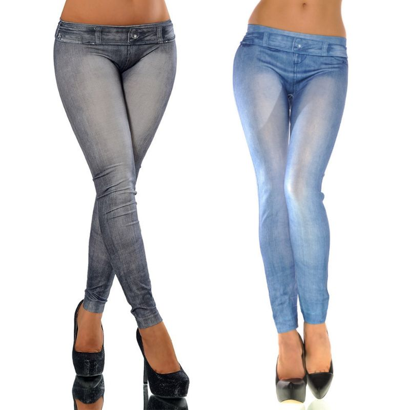 Women Vintage Wash Color Denim Print Leggings Low Rise Stretchy Pencil Pants Seamless Ankle Length Skinny Fake Jeans Tights
