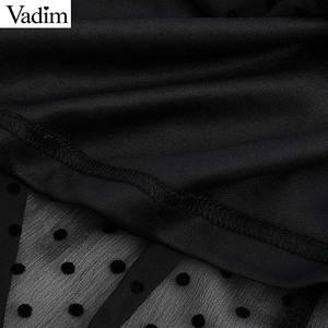Image 5 - Vadim נשים שיק נקודות עיצוב שיפון שחור midi שמלה קצר שרוול נקבה אופנתי מוצק אמצע עגל שמלות קיץ vestidos QD116