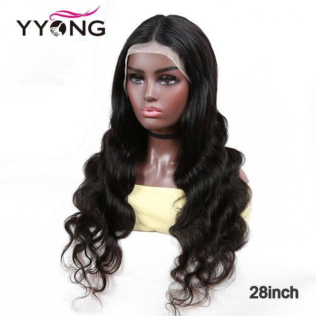 YYong-Peluca de cabello humano brasileño transparente, malla con división, parte media profunda, 1x4, Parte I y 13x1, Remy, 180% 5