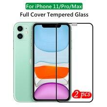 Alta alumínio completa gule temperado filme de vidro para iphone 11 pro max protetor de tela de vidro à prova de explosão para iphone 11