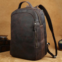 Luufan Vintage Mens Genuine Leather Laptop Backpack Crazy Horse Leather Travel Bagpacks Outdoor Computer Bag Man Male 40cm