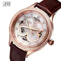 PB Mechanical Automatic Women Watches Luxury Four Leaf Clover Crystal Ladies Watch Leather Strap Waterproof Relógio Feminino