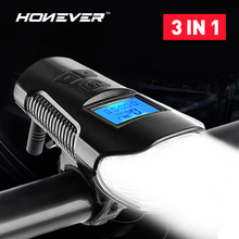 3 in 1 Waterproof Bicycle Light USB Rechargeable Bike Front Light Flashlight Handlebar Cycling Head Light w/ Horn Speed Meter
