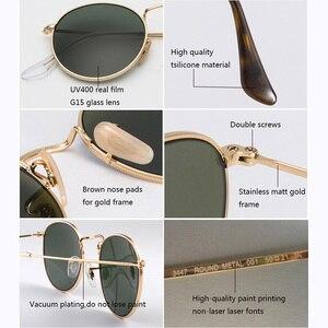 Image 4 - Lunettes de soleil en verre, verres ronds, monture métallique, de luxe, rétro, pour la conduite, pour hommes et femmes