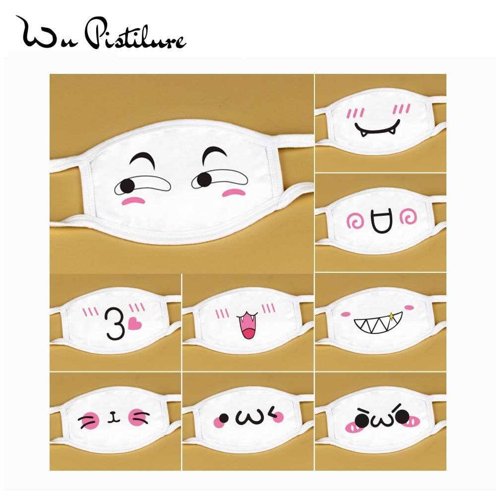 1Pcs Unisex Lovely Anti Dust Mask Cotton Mouth Mask Cute Anime Cartoon Expression Mouth Muffle Face Mask Emoticon Masque Mask