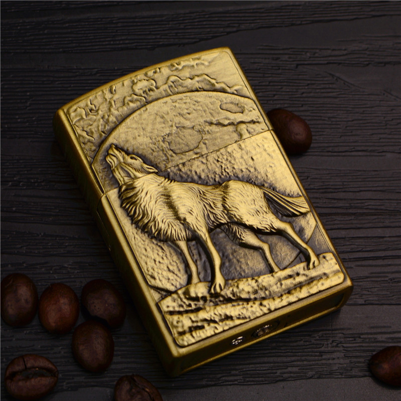Retro Metal Lighter Inflatable Creative Embossed Wolf Open Flame Personality Ancient Silver Gift Male Smoking Accessories