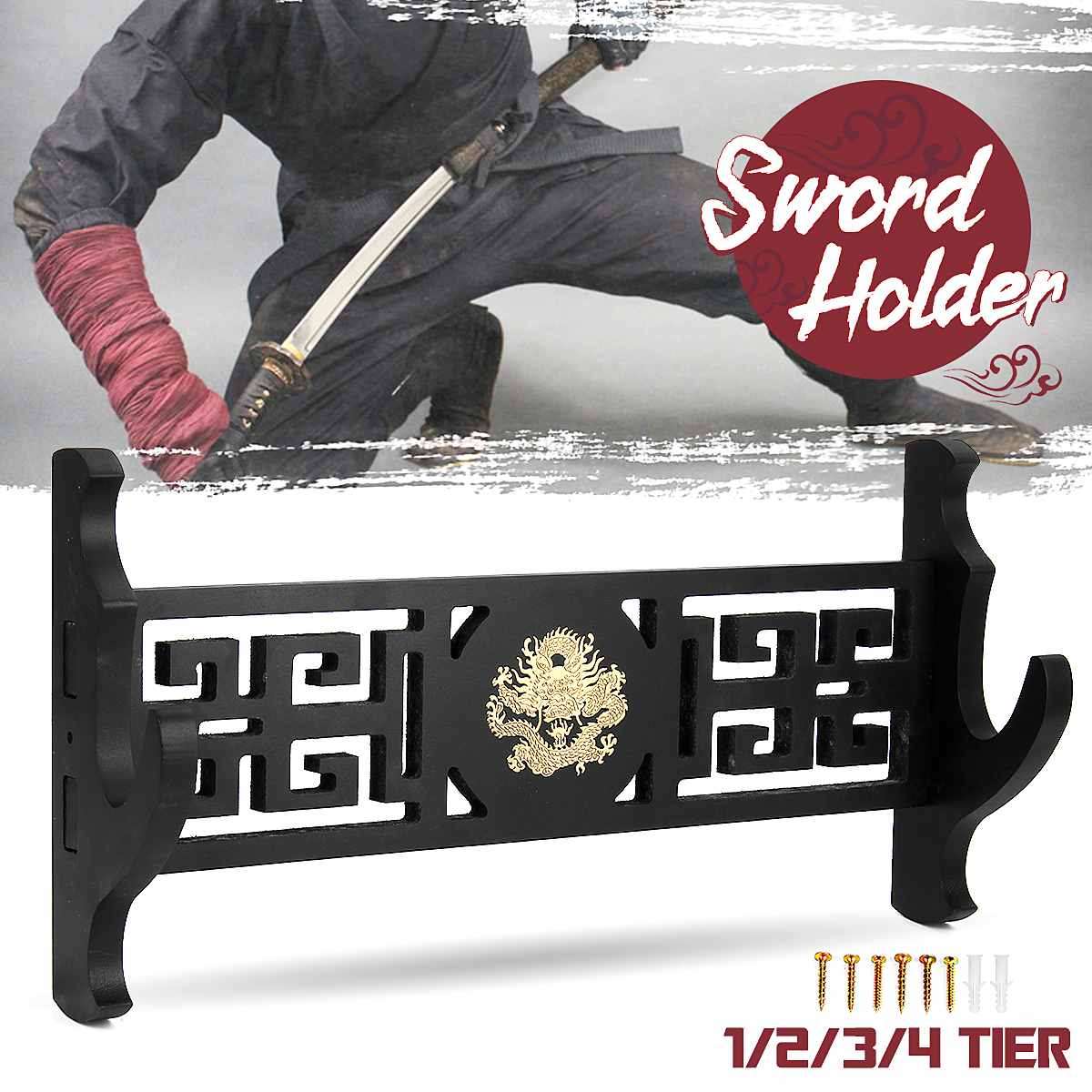 1/2/3 /4 Layer Samurai Sword Holder Wall Mount Dragon Japanese Samurai Sword Katana Holder Stand Hanger Bracket Rack Display