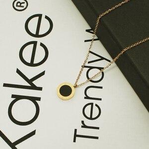 Ожерелье чокер из титановой нержавеющей стали с римскими цифрами женское, цепочка с подвесками в виде ракушек розового, золотого, черного, белого цветов, свадебное Ювелирное Украшение Колье      АлиЭкспресс
