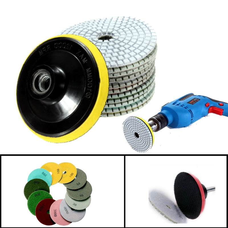 Image 5 - 12pcs/Set 4'/100mm Abrasive Tools Wet Dry Diamond Polishing Pads Sanding Disc Grinder For Granite Stone Concrete Marble Polisher-in Polishing Pads from Tools