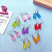 Fashion earrings  with Rainbow gummy bear soft cute girl earrings resin food ear clip female earrings little girl gifts