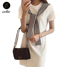 Blanco negro vestidos para las mujeres Robe Femme Ete 2019 de moda de Corea ropa de marinero Vintage vestido vestidos de rayas Vertical vestidos