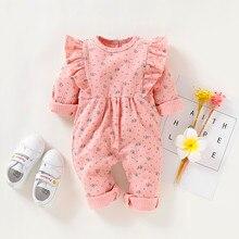 Комбинезон и комбинезон для маленьких девочек; хлопковая одежда для малышей; комбинезон с оборками и цветочным принтом с длинными рукавами; Roupa de bebe z7