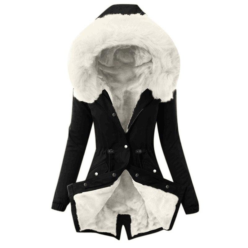 SWQZVT Hot Sale Fur Collar Winter Coat Women Solid Color Sashes Casual Warm Cotton Coat Women Jacket Hooded Women Parkas (6)