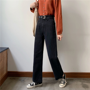 Image 3 - Jeans Women Plus Velvet Thickening Classic High Waist Simple Vintage Wide Leg Trousers BF Loose Womens Harajuku Casual Ulzzang