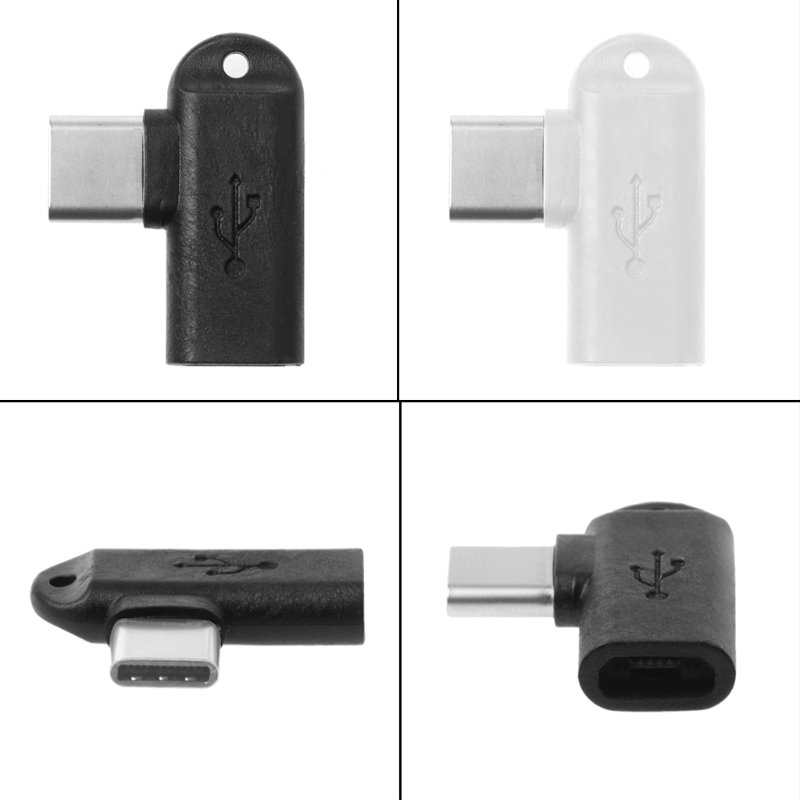 1Pc 90 Degree Type C Male To Micro USB Female Data Sync Charge Converter Adapter LX9A
