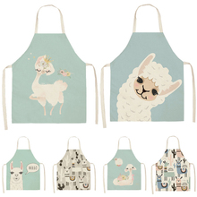 Aprons Pinafore Alpaca Linen Llama Cactus Baking Kitchen Women Printed Cotton Sleeveless