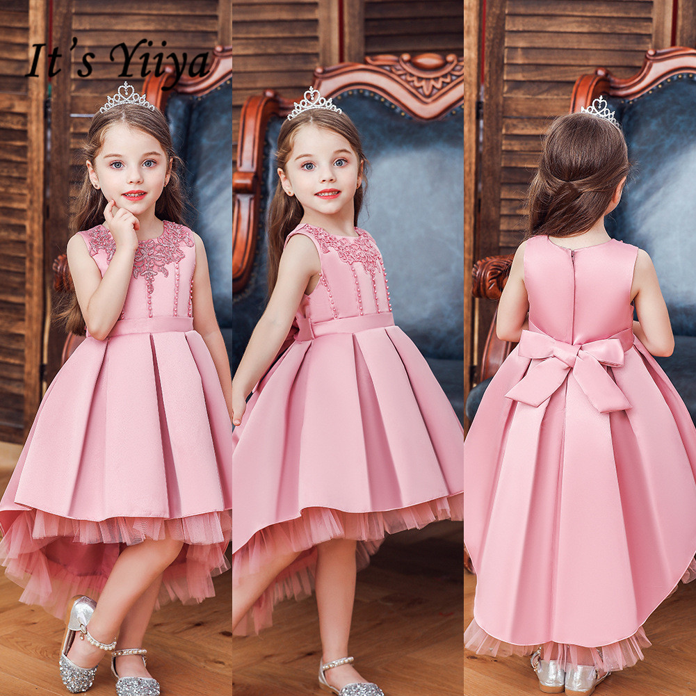 It's YiiYa Flower Girl Dress For Girls Weddings Appliques O-neck Tank Communion Dresses Zipper Bow Kids Party Gowns 186