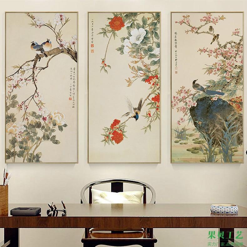Картина с цветами и птицами в китайском стиле, поющие птицы на цветах сливы, художественная красивая картина, холщовые постеры для украшения дома
