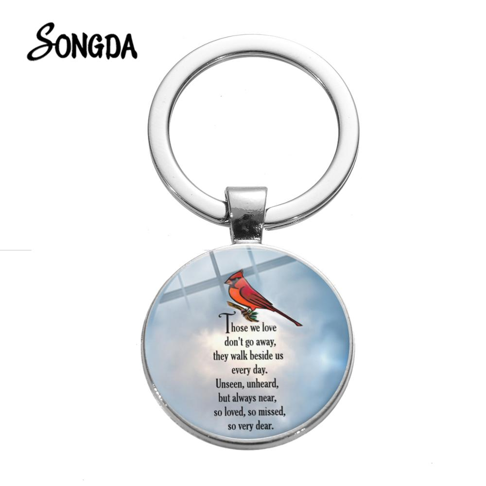 Cardinals Appear When Angels Are Near Keychain Bible Verse Red Bird Photo Silver Color Key Chain Holder Inspiring Jewelry