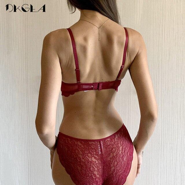 Fashion Bandage Brassiere Black Push Up Bra Panties Set Lace Lingerie Embroidery Thick Cotton Underwear Set Women Bras Sexy 3