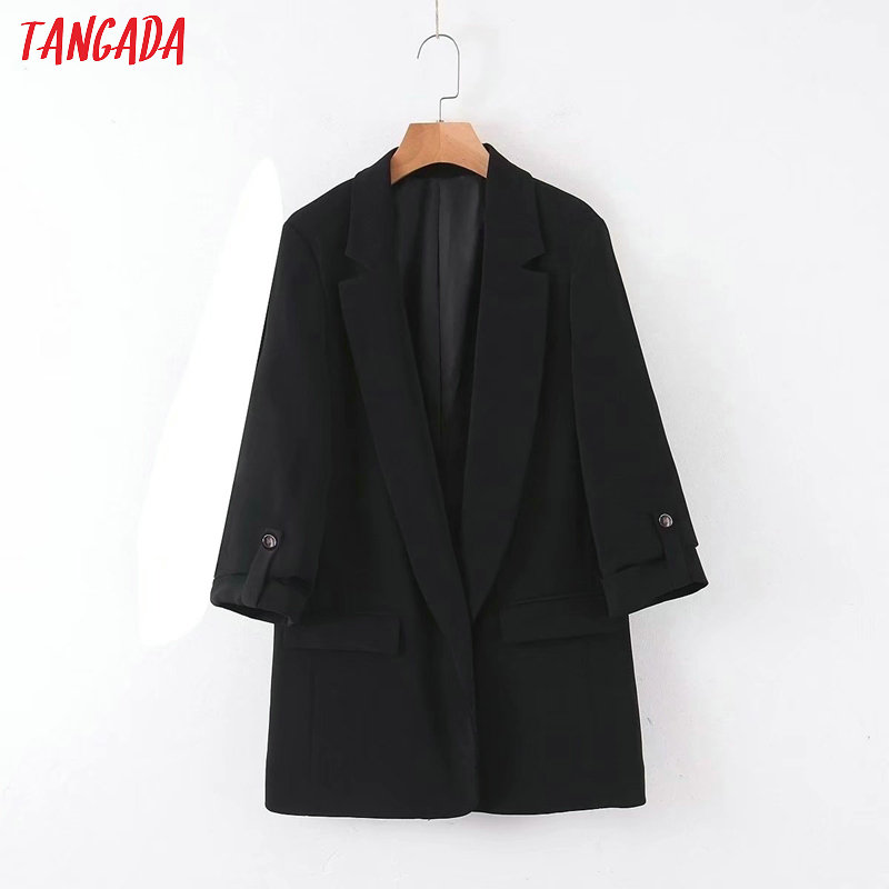 Tangada Women Vintage Black Blazer Female Long Sleeve Elegant Jacket Ladies Work Wear Blazer Formal Suits QB104