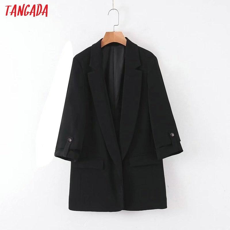 Tangada Women Vintage Black Blazer Female Long Sleeve Elegant Jacket Ladies Work Wear Blazer Formal Suits QB104