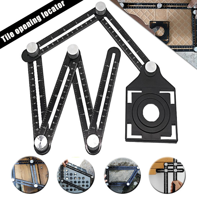 Adjustable Ceramic Tile Hole Locator 6 Folding Multiple Angle Ruler Drill Guide Openings Locator
