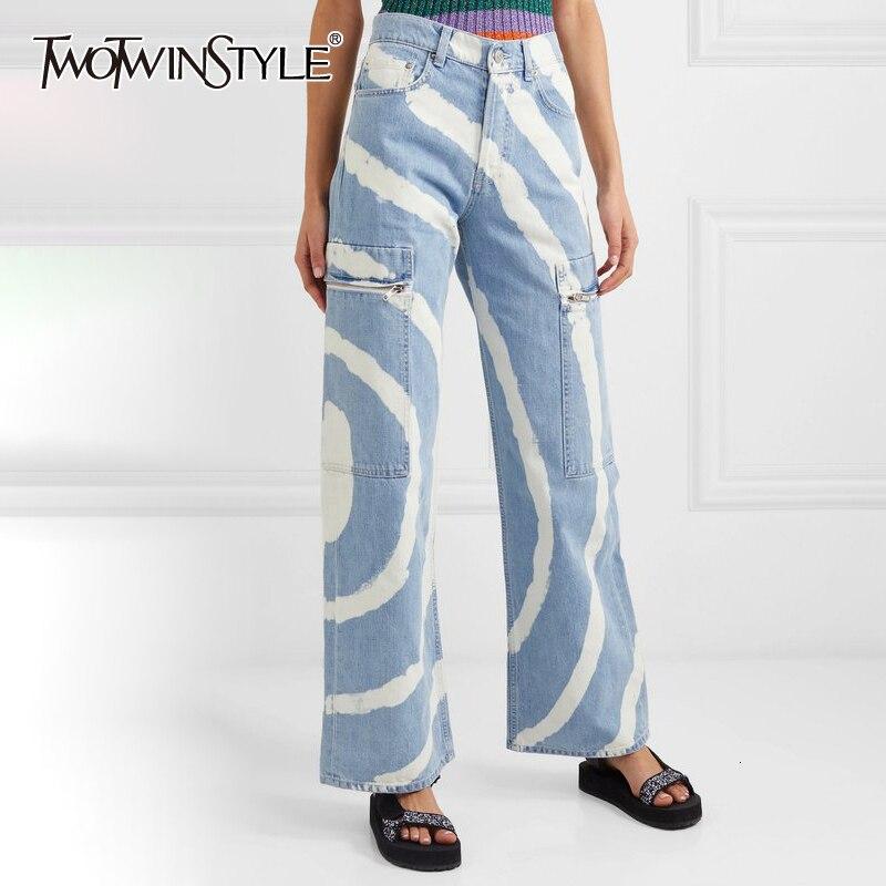 TWOTWINSTYLE Streetwear Stripe Denim Women's Pants High Waist Pocket Wide Leg Jeans Female 2019 Autumn Large Size Fashion New