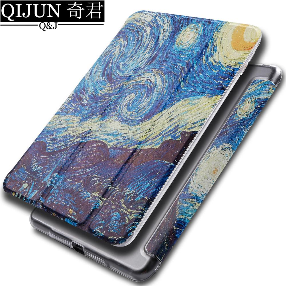 "tablet flip case for Apple ipad 9.7"" 2017 painting Auto Smart Sleep wake Back fold Stand cover capa card for ipad5 A1822 A1823"