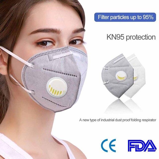 Riutilizzabile KN95 Maschera Valved Viso Maschera FFP3 Mascherine Respiratore Viso Maschera 6 Strato di Protezione Viso Anti-polvere Molto Veloce dropshipping 1