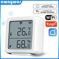 Awaywar Tuya WIFI Temperatur und Feuchtigkeit Sensor Innen Hygrometer Thermometer Detektor Unterstützung Alexa Google Hause smart leben
