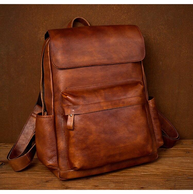 de couro mochila de viagem de primeira