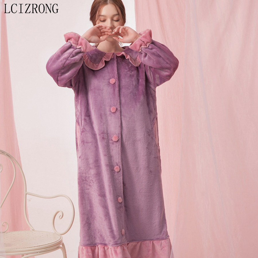 Korean Winter Spring Coral Fleece Women Sleepwear Dress Fashion Loose Button Night Dress Warm Girl Midi Home Clothes