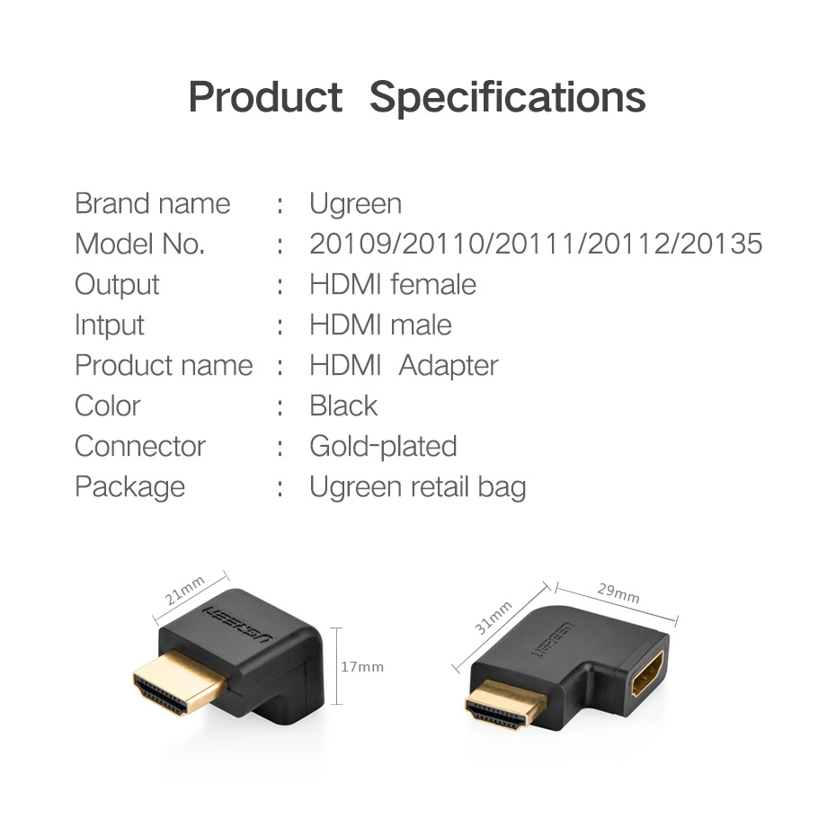 Ugreen HDMI Adapter 270 90 Degree Right Angle Male to Female Cable Converter 4K HDMI Extender for PS4 HDTV HDMI Connector H057d7279ebda40d796bae00809555dbbi