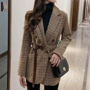 With Belt Fashion Spring  Vintage Houndstooth Pockets Women Blazer Sashes Double-breasted Plaid Female Suit Jacket Long Sleeve 1