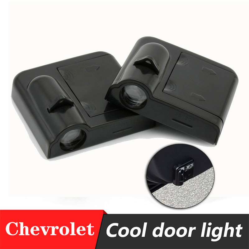 2pcs Car Door Logo Projector Lamp Welcome Light Easy To Install Paste Battery Door Light For Chevrolet Cruze Captiva Aveo Lacett