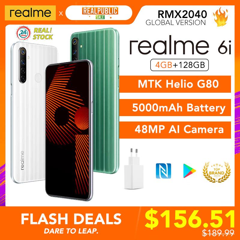 realme 6i Global Version 6 i Mobile Phone 4GB RAM 128GB ROM 5000mAh Battery Helio G80 6.5\