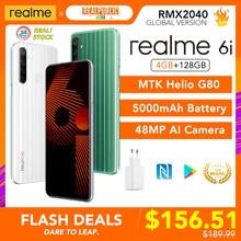 Realme 6i wersja globalna 6 i telefon komórkowy 4GB RAM 128GB ROM 5000mAh bateria Helio G80 6.5