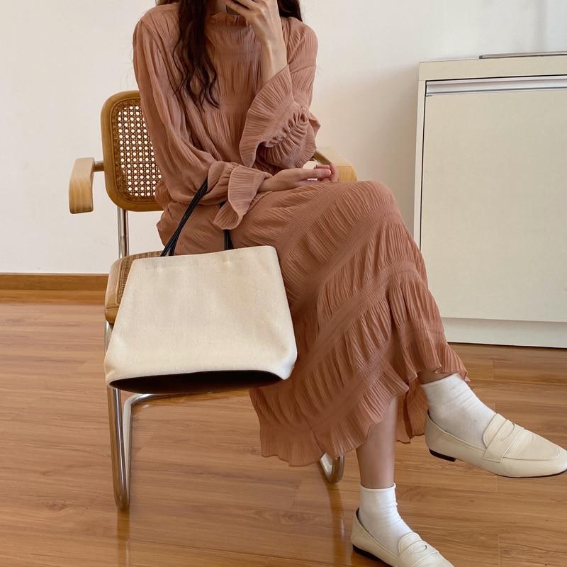 H057da6c8097145348950a50127ccb666d - Autumn Korean O-Neck Flare Long Sleeves Chiffon Pleated Midi Dress