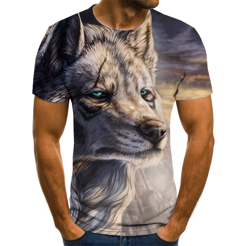 2020 Newest Wolf 3D Print Animal Cool Funny T-Shirt Men Short Sleeve Summer Tops Tees Fashion T Shirt Size XXS-6XL Free Shipping