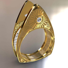 New Arrival Geometric Gold Women Finger Ring Triangle Double Color Crystal Inlaid Jewelry High Quality Wholesale недорого