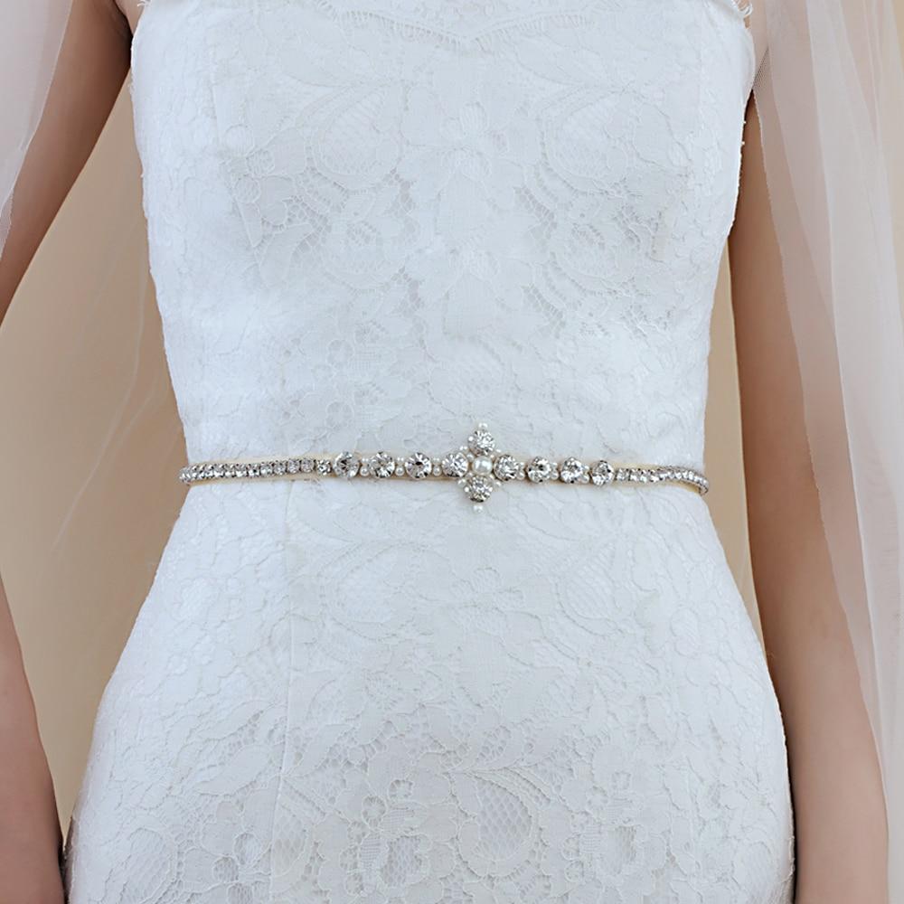 TRiXY S391 Stunning Silver Diamond Belt Wedding Dress Belt Thin Rhinestone Belt Pearls Belts Formal Belts For Bride Waist Belt