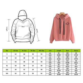 2019 Autumn Women Hoodies Casual Planet Print Solid Color Loose Drawstring Sweatshirt Fashion Long Sleeve Hooded Female Tops 1