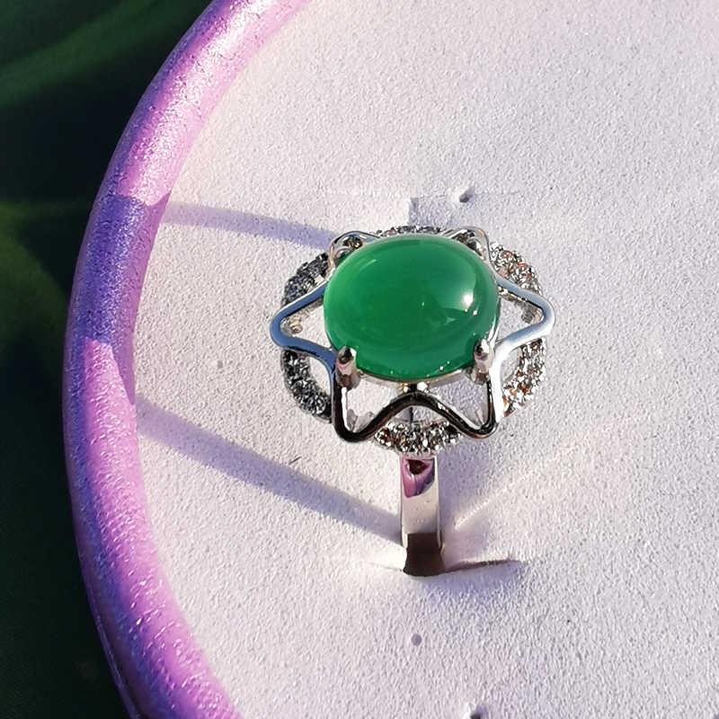 Jadery 925 srebro pierścionki dla kobiet naturalny zielony kamień szlachetny Jade pierścień ślub srebro 925 biżuteria anillos boże narodzenie 2019