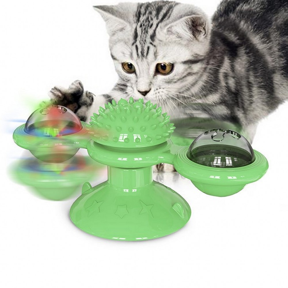2020 New Pet Cat Toys Turntable Funny Interactive Puzzle Training Toy For Cat Sucker Catnip Rub Hair Remover Brush Cat Supplies