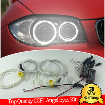 Hight Quality CCFL Angel Eyes Kit Warm White Halo Ring for BMW 1 Series E81 E82 E87 E88 2004-2012 XENON HEADLIGHT Demon Eye image