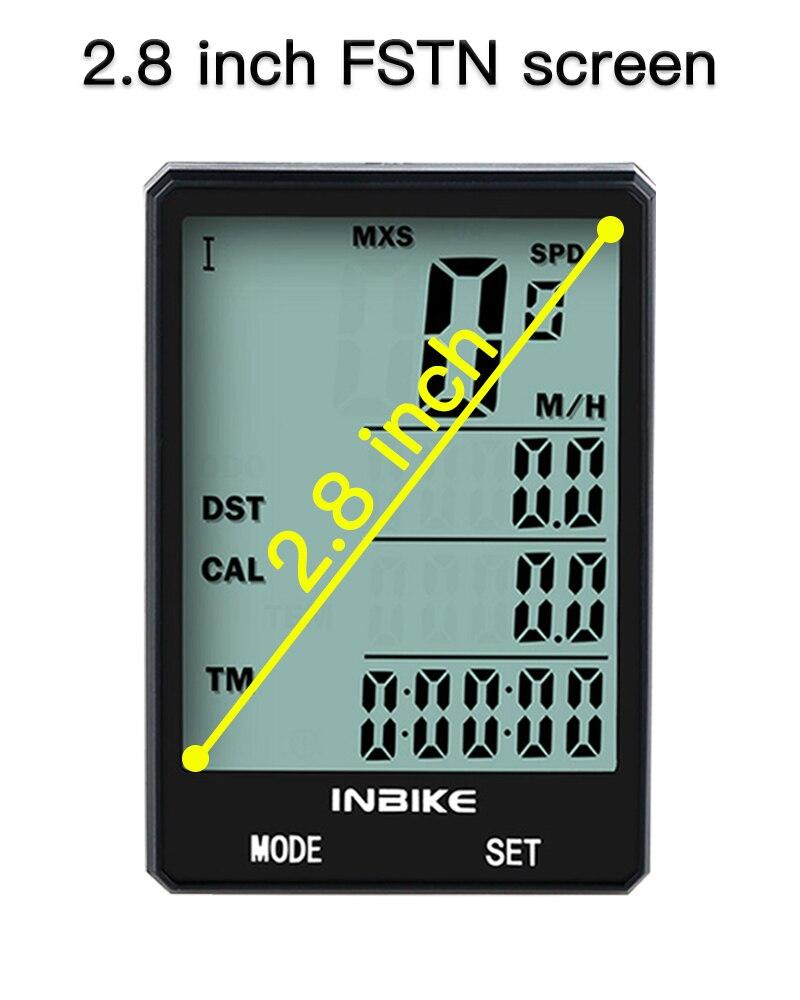 INBIKE Rainproof Large Screen Bicycle Computer 2.8'' Wireless Bike Computer Speedometer Odometer Cycling Measurable Stopwatch
