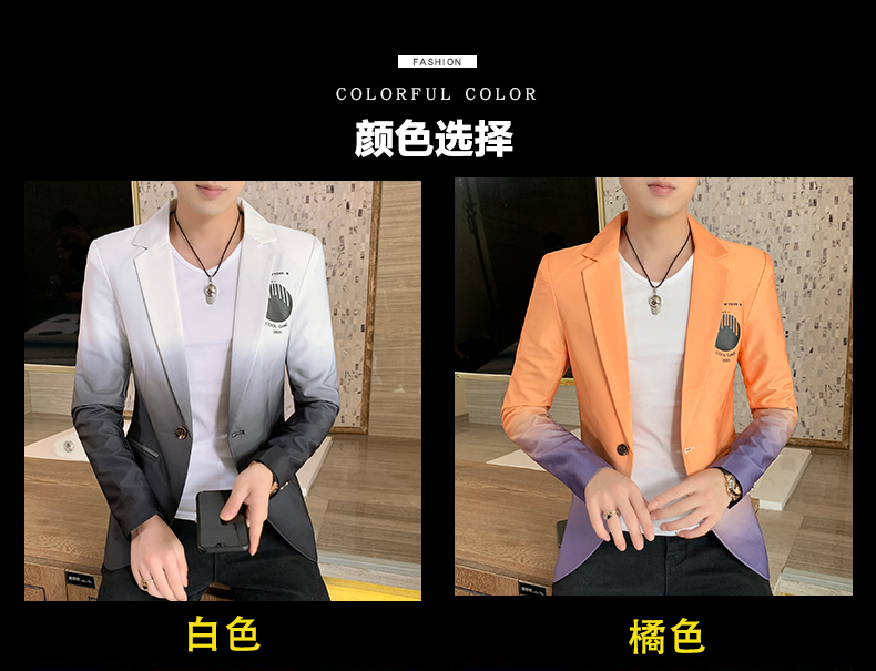 H057e091f8d434c5f84ca450a7650aea68 - Male Gradient Blazer Masculino 2020 Spring Autumn Korean Style Blazer For Men Suit Jacket Casual Wedding Business Clothing