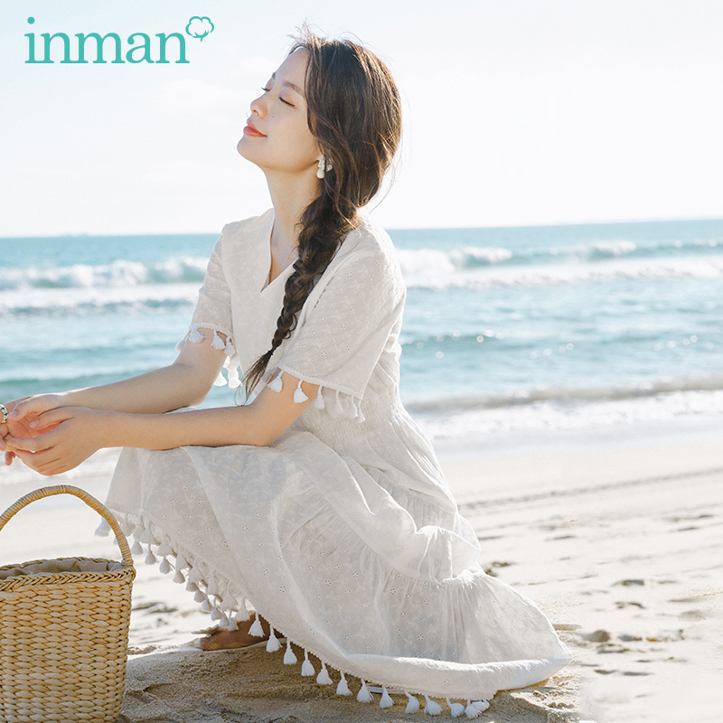 INMAN 2020 Summer New Arrival V-neck Sweet Tassels Nipped Waist Slimmed Short Sleeve Tiered Dress