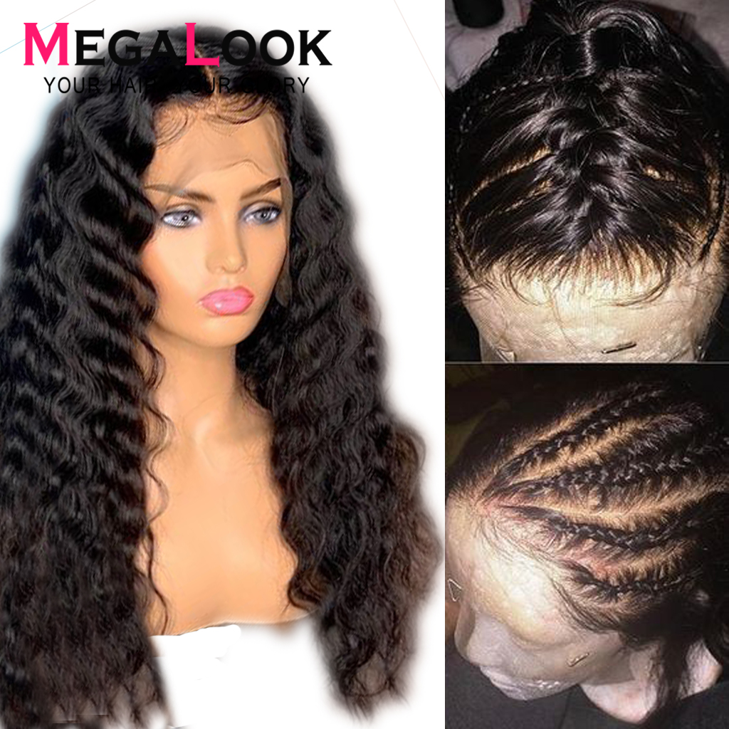 Megalook Deep Wave Wig 360 Lace Frontal Wig 180 Density Remy Human Hair Wigs 360 Lace
